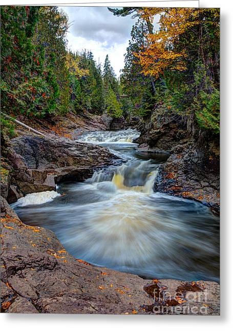 Cascade Falls North Shore Of Lake Superior Minnesota Greeting Card by Wayne Moran