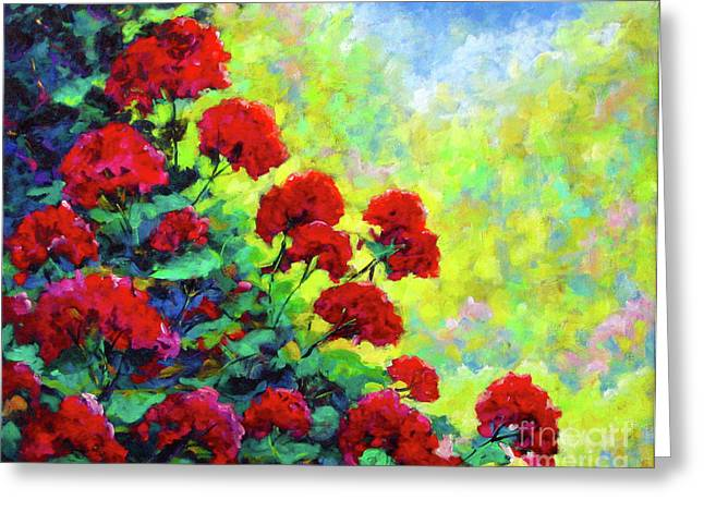 Red Geraniums Greeting Cards - Cascade of Geraniums Greeting Card by Richard T Pranke