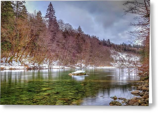 Cascade River Rocks Greeting Card by Spencer McDonald