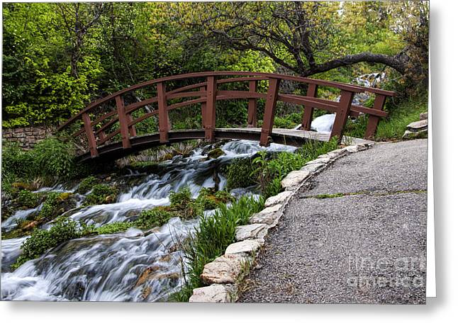 Cascade Springs Bridge Greeting Card