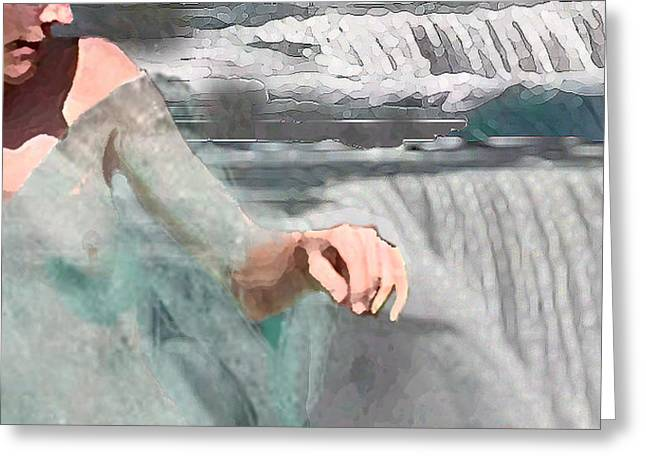 Greeting Card featuring the digital art Cascade by Steve Karol