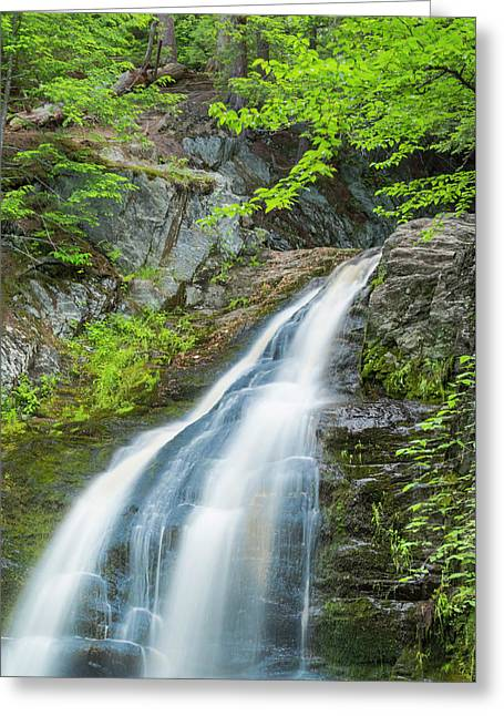 Greeting Card featuring the photograph Cascade Waterfalls In South Maine by Ranjay Mitra