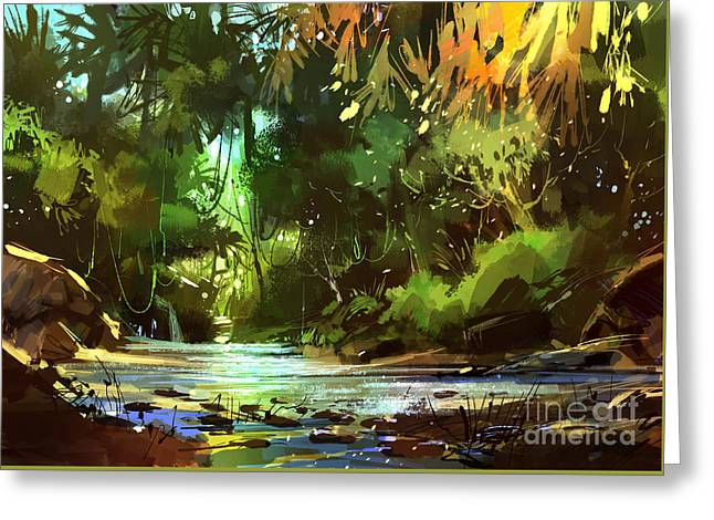 Greeting Card featuring the painting Cascades In Forest by Tithi Luadthong