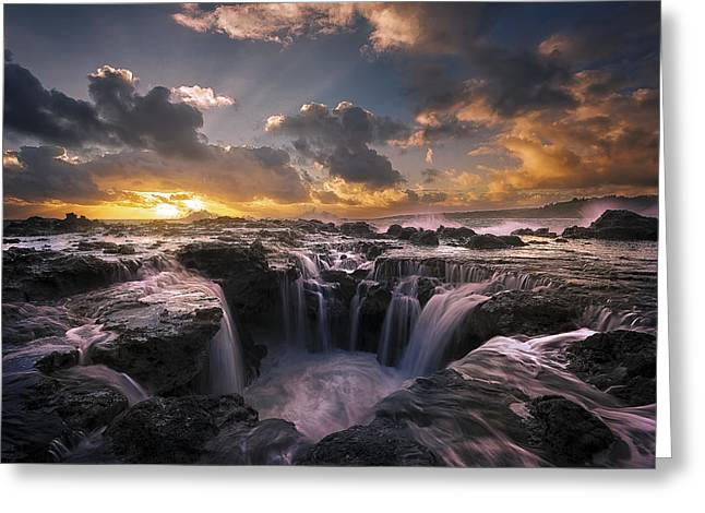 Cascades Of Kauai II Greeting Card by Todd Kawasaki