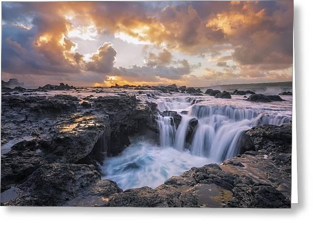 Cascades Of Kauai Greeting Card by Todd Kawasaki