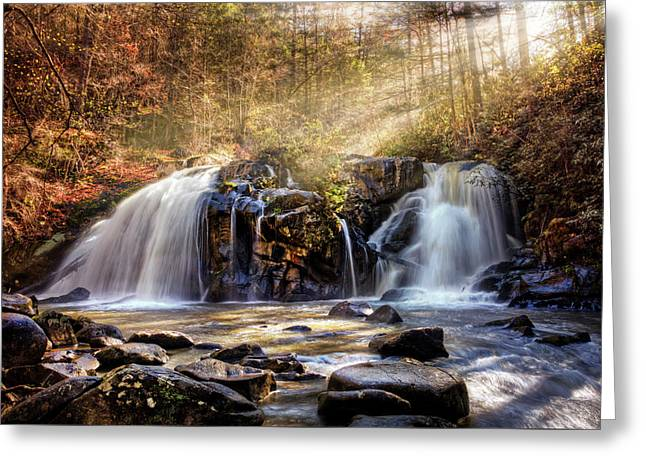 Greeting Card featuring the photograph Cascades Of Light by Debra and Dave Vanderlaan