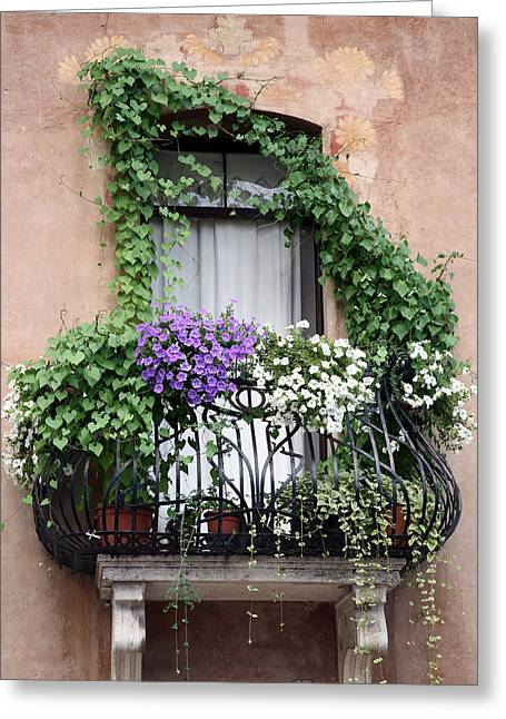 Cascading Floral Balcony Greeting Card
