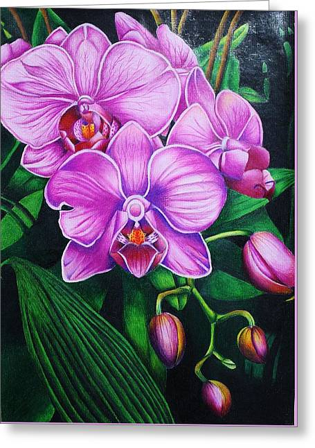 Cascading Orchids Greeting Card