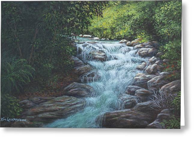 Greeting Card featuring the painting Cascading Stream by Kim Lockman