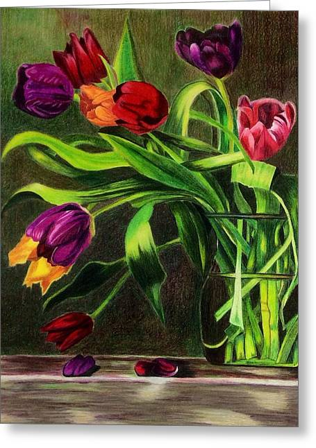 Greeting Card featuring the painting Cascading Tulips by Patti Ferron