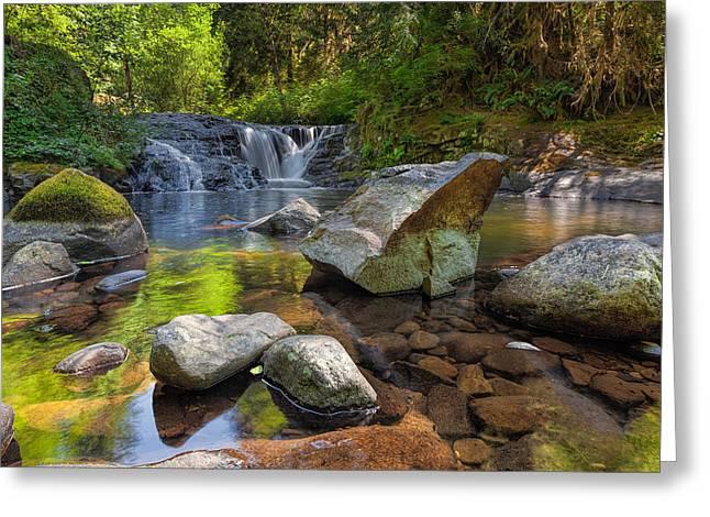 Cascading Waterfall At Sweet Creek Falls Trail Greeting Card by David Gn