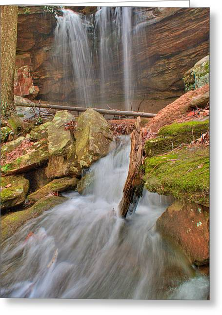 Cascading Waterfall Greeting Card by Douglas Barnett