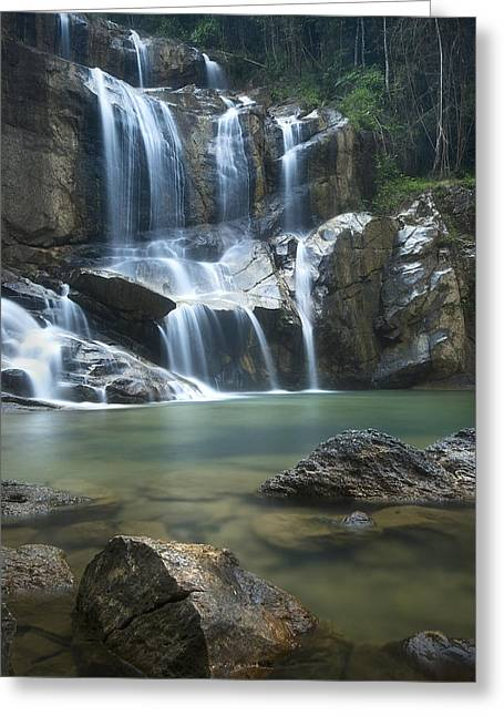 Greeting Card featuring the photograph Cascading Waterfalls by Ng Hock How