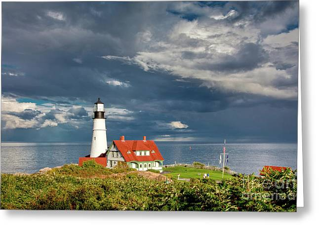 Greeting Card featuring the photograph Casco Bay Lookout by Susan Cole Kelly