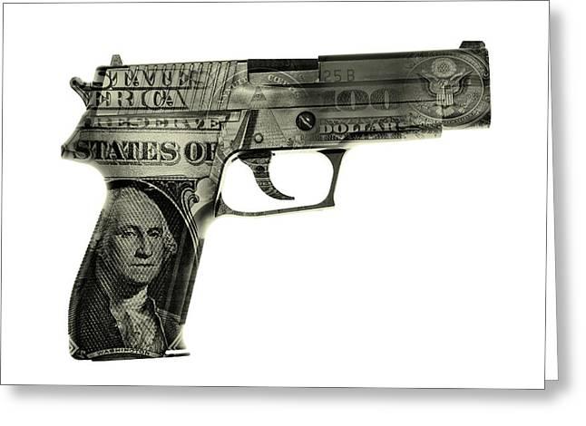Cash Gun  Greeting Card by Les Cunliffe