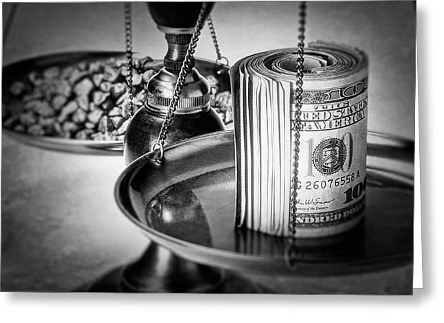 Cash Versus Gold Greeting Card