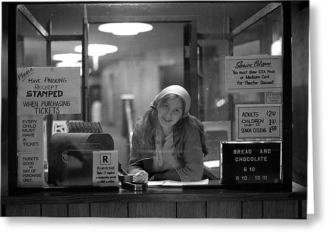 Cashier, Devon Theatre, 1979 Greeting Card