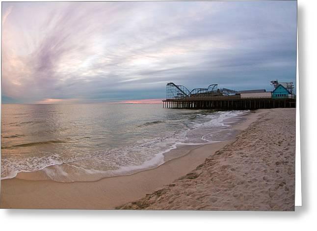 Casino Pier Sunrise Greeting Card by Robert Siliato