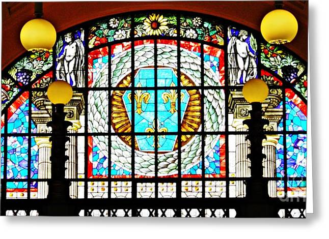 Casino Stained Glass Greeting Card by Sarah Loft