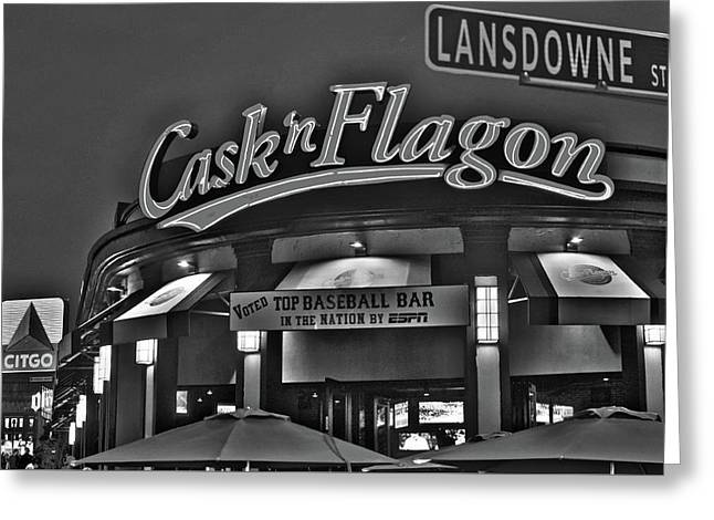Cask And Flagon Citgo Sign Lansdowne Street Black And White Greeting Card by Toby McGuire
