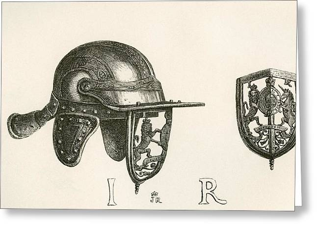Casque Of King James II With Cheek Greeting Card by Vintage Design Pics