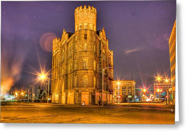 Cass Castle Detroit Mi Greeting Card by Nicholas  Grunas