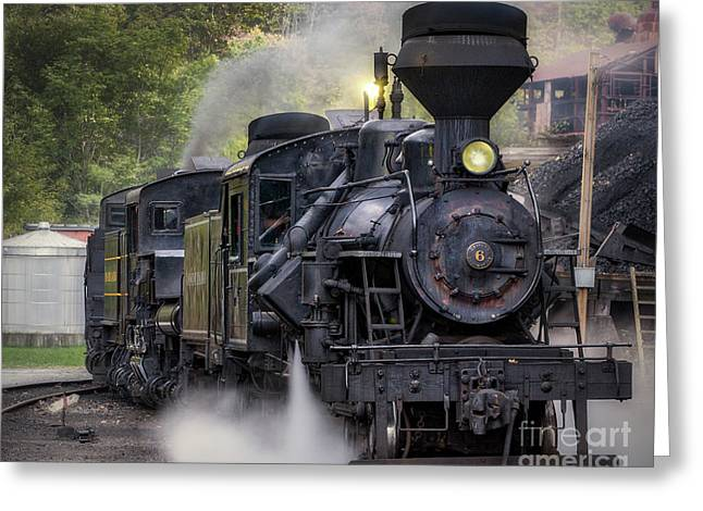 Cass Railroad Steam Engine Greeting Card by Jerry Fornarotto