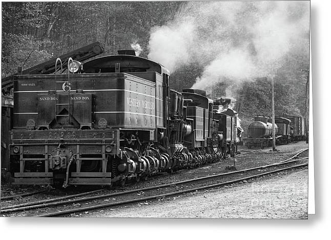 Cass Railroad Train Yard Bw Greeting Card by Jerry Fornarotto