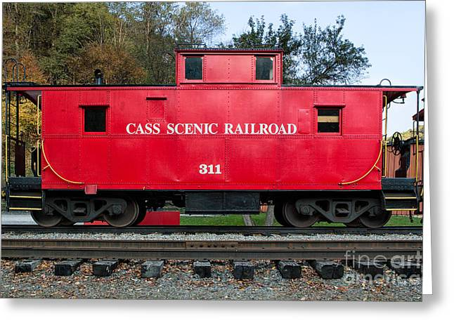 Cass Red Caboose Greeting Card by Jerry Fornarotto