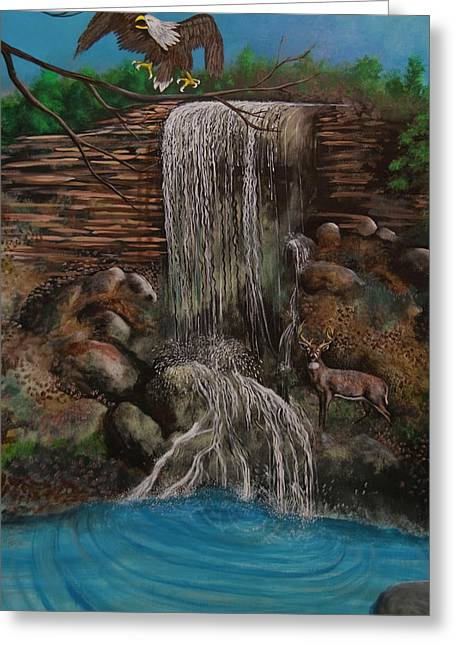 Casscading Waterfall Greeting Card