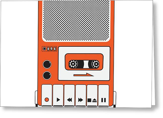 Cassette Tape Recorder Greeting Card by Igor Kislev