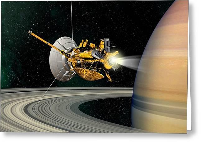 Probe Greeting Cards - Cassini-huygens Probe At Saturn, Artwork Greeting Card by David Ducros