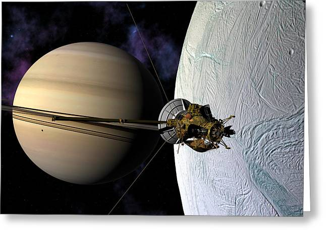 Cassini Passing Enceladus  Greeting Card