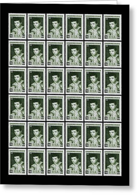 Cassius Clay World Champion Stamp Greeting Card by Mark Rogan