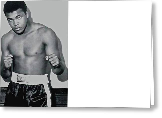 Cassius Marcellus Clay Jr, Watercolor, Mohammad Ali Greeting Card by Thomas Pollart