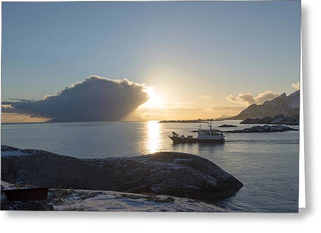 Cast A Giant Shadow... Reine Lofoten Greeting Card