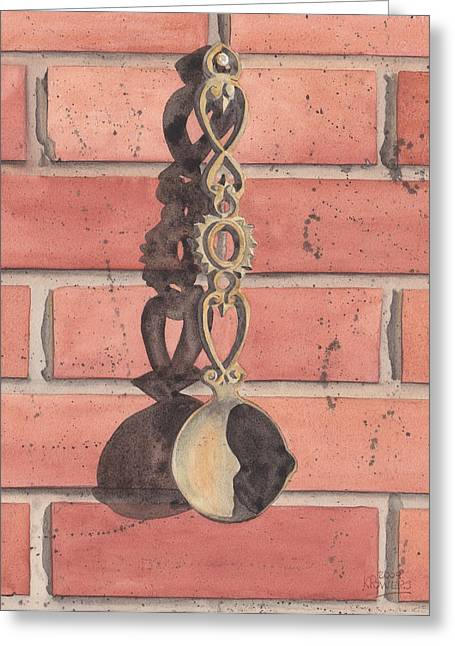 Cast Iron Welsh Love Spoon Greeting Card by Ken Powers