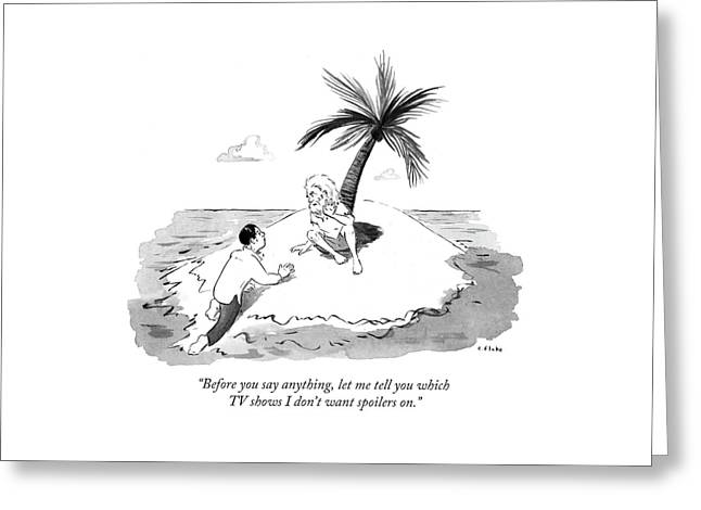 Castaway Climbs Onto Shore Of Deserted Island. Greeting Card