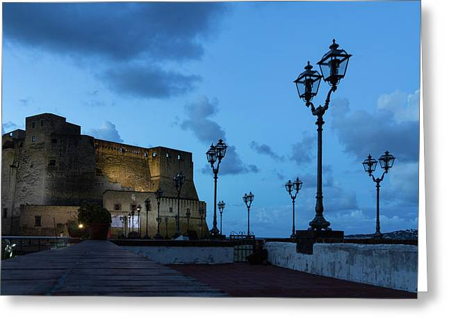 Castel Dell Ovo - Blue Hour At The Fabulous Seaside Castle In Naples Italy Greeting Card