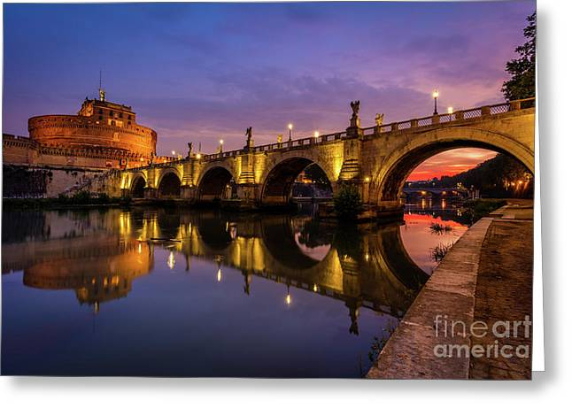 Castel Sant Angelo And The Tiber Greeting Card by Inge Johnsson