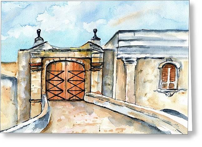 Castillo De San Cristobal Entry Gate Greeting Card by Carlin Blahnik