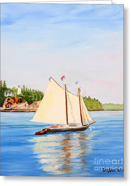 Castine Harbor And Dice Head Light Greeting Card by Stella Sherman