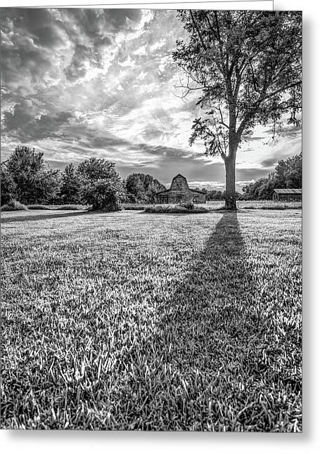 Casting Shadows - Old Barn At Sunset - Black And White Greeting Card