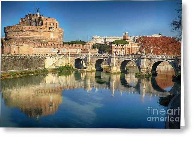 Castle And Bridge Reflections In The Tiber River Greeting Card by George Oze