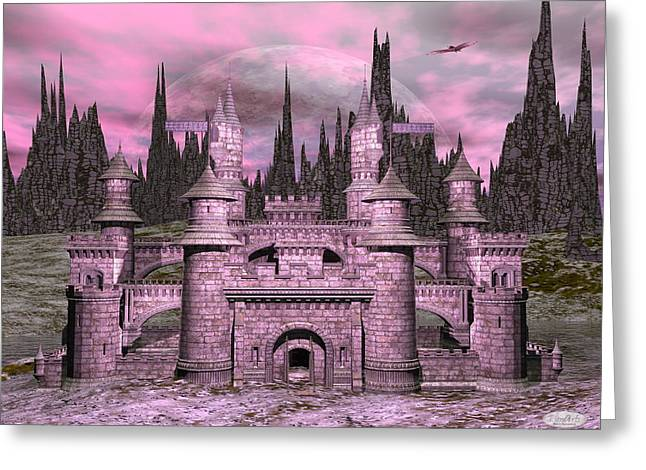 Castle By Night - 3d Render Greeting Card