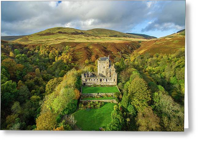 Castle Campbell Aerial Greeting Card by Liam Anderstrem