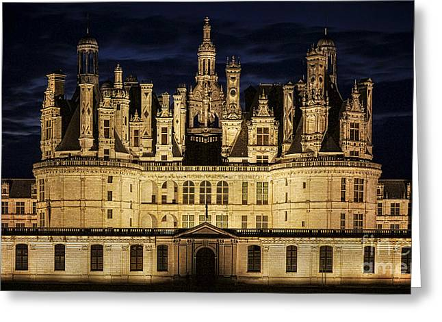 Greeting Card featuring the photograph Castle Chambord Illuminated by Heiko Koehrer-Wagner