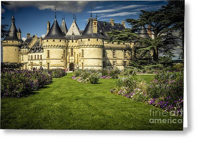 Greeting Card featuring the photograph Castle Chaumont With Garden by Heiko Koehrer-Wagner