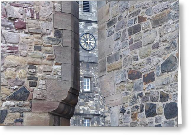 Castle Clock Through Walls Greeting Card by Margaret Brooks