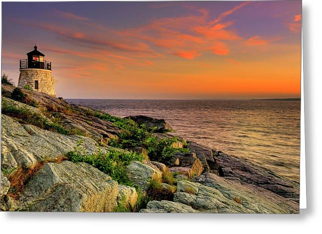 Castle Hill Lighthouse - Newport Rhode Island Greeting Card by Thomas Schoeller